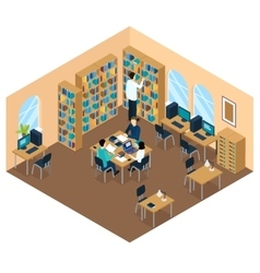 Education Library Isometric Student Composition vector