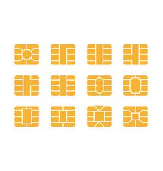 Emv chip icon set nfc chip for credit card vector