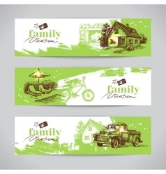 Family vacation vintage banner set with hand drawn vector
