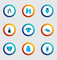 Fashionable icons colored set with apparel vector