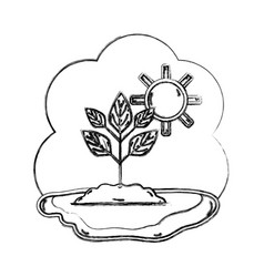Figure plant with ground and sun weather vector