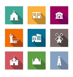 Flat architectural icons vector