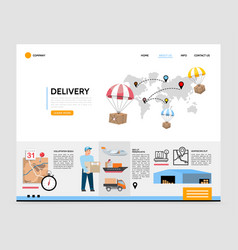 flat delivery service landing page template vector image