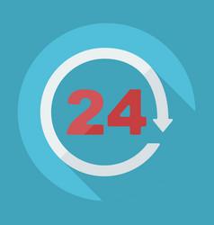 Flat modern symbol 24 hours around clock vector