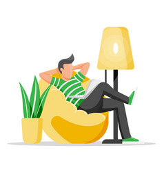 Freelancer man with laptop in beanbag chair vector