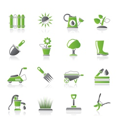 Gardening tools and objects icons vector image vector image