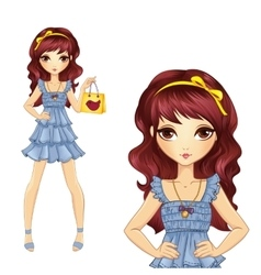 Girl in jeens dress do shopping vector