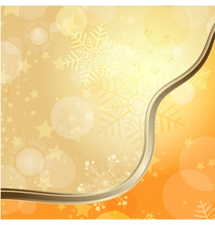 Golden Christmas card with translucent snowflakes vector