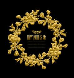 golden floral wreath vector image