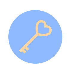 golden key in heart shape icon on blue round vector image