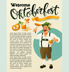Green germany costume oktoberfest man a mustache vector