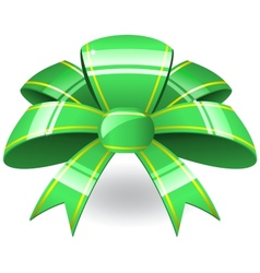 Green ribbon bow vector