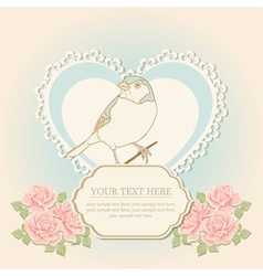 Greeting card with heart shape and bird vector