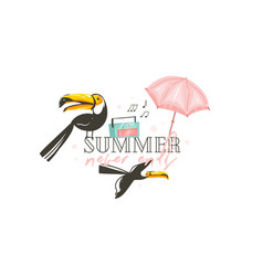 hand drawn abstract graphic cartoon summer vector image