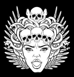 Hand drawn gorgon with skull and wings in vector