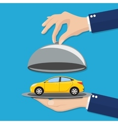 Hand opens serve cloche with yellow car inside vector