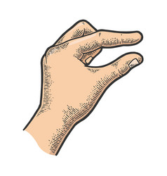 Hand showing tiny small size sketch vector