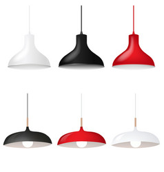 hanging lamp set isolated white background vector image