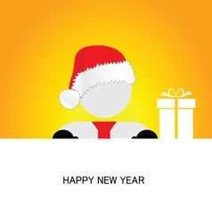 happy new year with snowman orange vector image