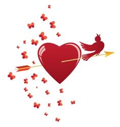 Heart bird and arrow vector