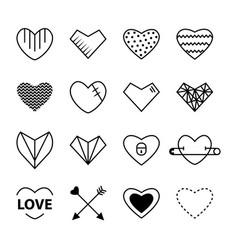 heart outline black color set vector image