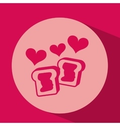 Heart red cartoon cookie jam icon design vector