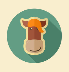 horse flat icon animal head vector image