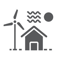 house with windmill glyph icon real estate vector image