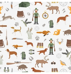 Hunting seamless pattern dog hunting equipment vector