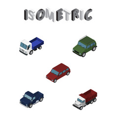Isometric transport set of freight suv lorry and vector