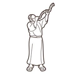Jewish blowing shofar horn cartoon vector