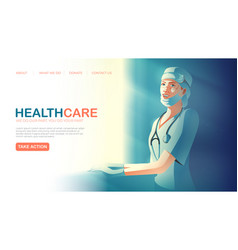 Landing page template in healthcare service vector