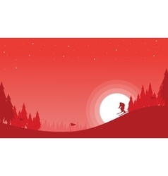Landscape of the ski Christmas theme vector