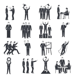 Leadership black white icons set vector