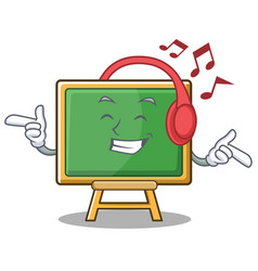 Listening music chalk board character cartoon vector