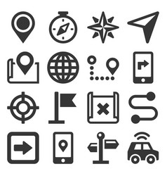 map and navigation icons set on white background vector image