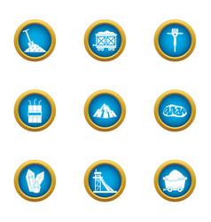 mining engineering icons set flat style vector image