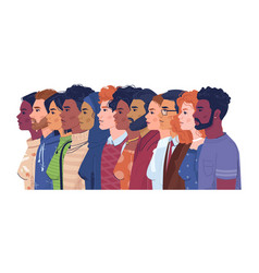 Multiracial multicultural crowd diverse people vector
