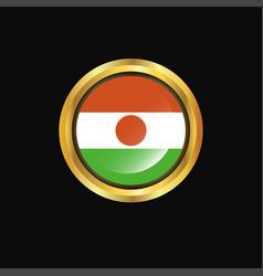 Niger flag golden button vector