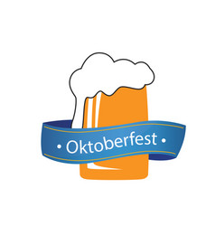 oktoberfest blue ribbon beer glass background vect vector image