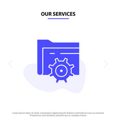 our services folder setting gear computing solid vector image