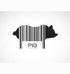 pig on the body is a barcode farm animals pig vector image