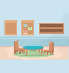 Playroom table chairs shelf board memo decoration vector
