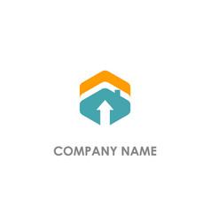 polygon arrow realty logo vector image
