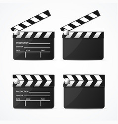realistic 3d detailed black clapper set vector image