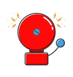 Red ringing alarm bell in retro style vector