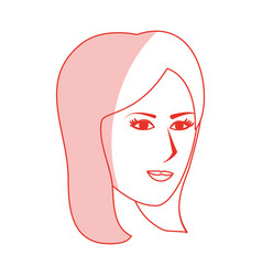 Red silhouette shading side profile face woman vector