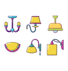 room lamp icon set cartoon style vector image