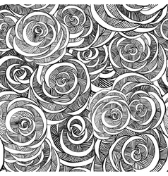 Roses black and white pattern vector image