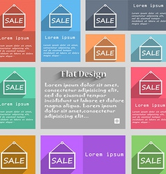 SALE tag icon sign Set of multicolored buttons vector image